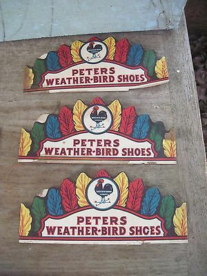 3 Antique Peters Weather-Bird Shoe Paper Headband Advertising Novelty-Decorative