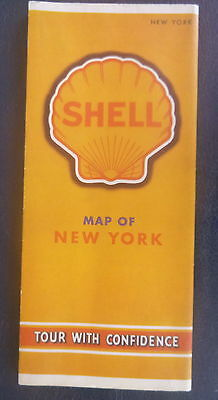 1940 New York road map Shell oil  gas Long Island