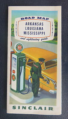 1951 Arkansas Louisiana Mississippi road map Sinclair gas historical guide
