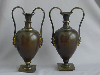 Beautiful pair of brown patinated vases with Pan mounts gilded,  circa 1830
