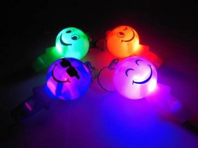 24 Light up Smile Face Torch Key Chains with Whistle