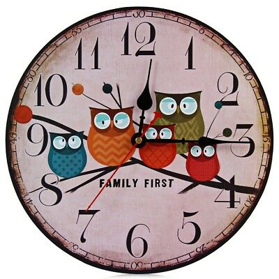 Decorative Silent Round Wooden Wall Clock Owl Style Home Retro Analog New