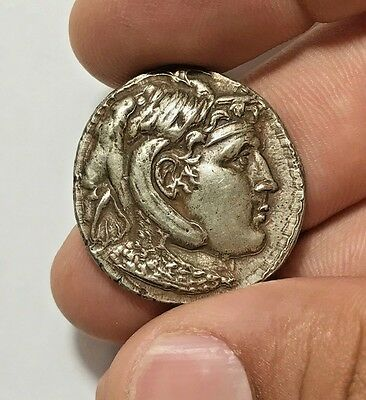 ANCIENT GREEK SILVER COIN TETRADRACHM HEAD OF ALEXANDER THE GREAT 16.6gr 29.9mm