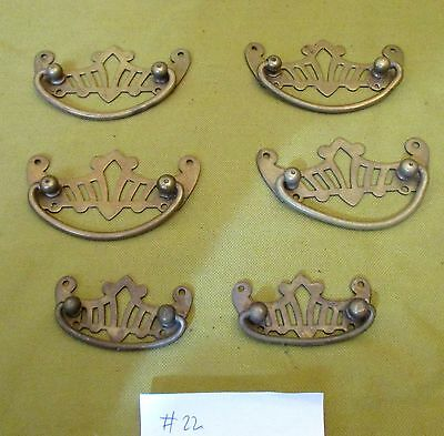6 X Antique Brass Pierced Cabinet Chest Drawer Handles Pulls Restoration #22