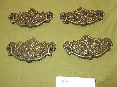 4 X Victorian Cabinet Brass Chest Drawer Handles Pulls Restoration Salvage #29