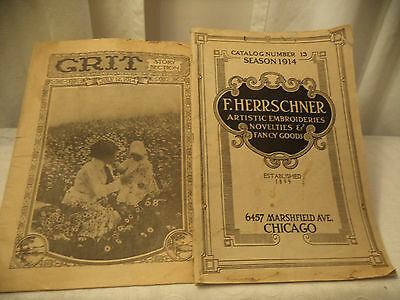 1914  F. Herrschner Artistic Embroieries Catalog + Grit Story Section 07/12/1914