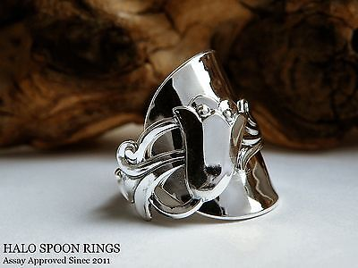 Stunning  Chunky  Norwegian Silver Spoon Ring With Beautiful Bluebell Detail