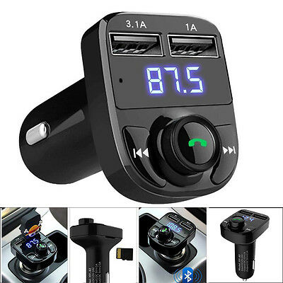 Bluetooth Car Kit Wireless FM Transmitter Dual USB Charger Audio MP3 Player UK