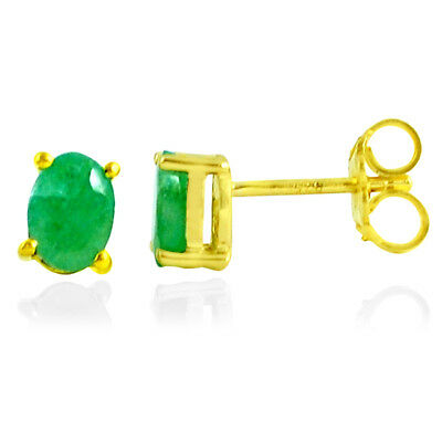 3cts NATURAL GREEN EMERALD 925 STERLING SILVER 14K GOLD STUD EARRINGS MP103
