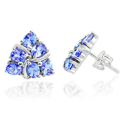 4.10cts NATURAL BLUE TANZANITE 925 STERLING SILVER STUD EARRINGS JEWELRY MP102