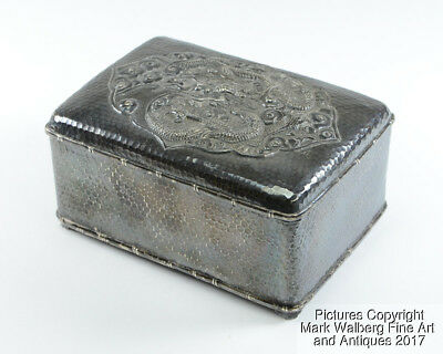 Chinese Export Silver Repoussé Box, Dragon & Clouds, Hinged Lid, Late 19th C
