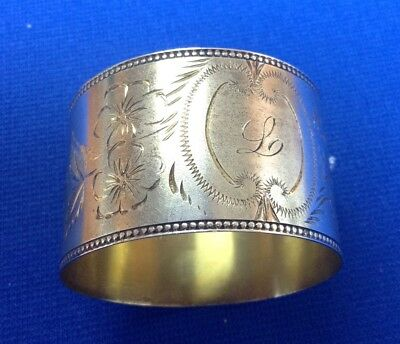 """Beautiful Antique Sterling Silver Monogrammed Initial """"L""""1 1/8"""" Wide Napkin Ring"""