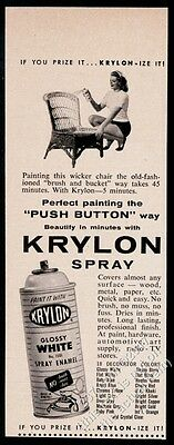 1957 Krylon spray paint woman painting wicker chair photo vintage print ad
