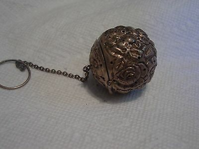 Antique Sterling Repousse Tea Ball/Strainer