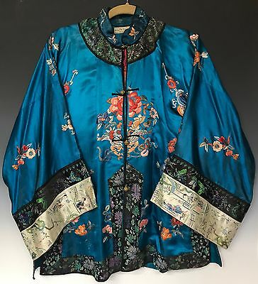 Antique Chinese Traditional Silk Embroidered Womans Jacket Kimono Sleeve