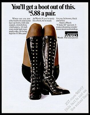 1971 woman in black vinyl lace-up boots photo Montgomery Ward vintage print ad