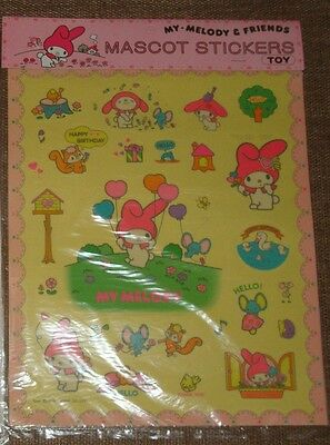 Sanrio My Melody & Friends Vintage Mascot Stickers Sheet Large 1976 New