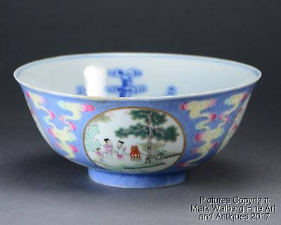 Imperial Chinese Famille Rose/Blue & White Porcelain Bowl, Sgraffiato, 19/20th C