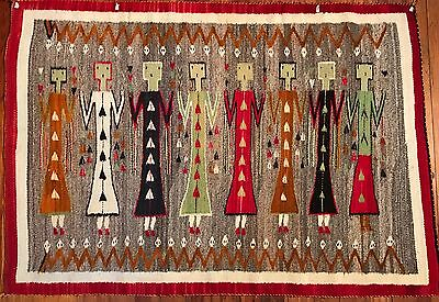 NAVAJO YEI RUG, Unusual Reptile Border, c1920, Excellent Condition