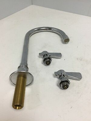 "Chicago Faucet Co Goose Neck Spout 3.5"", Height: 10.2"" With Hot and Cold Handles"