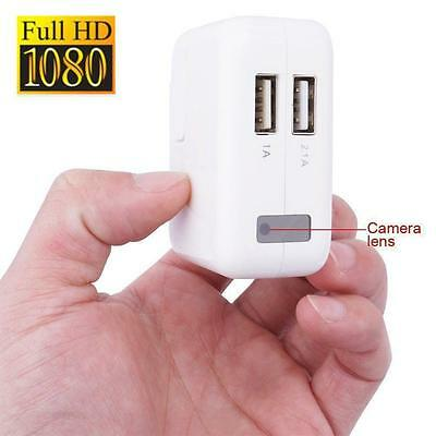 32GB HD 1080P Mini AC Adapter Plug Charger Hidden Spy Camera Cycle DVR Video M0