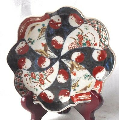 C19Th Japanese Imari Dish With Scallopped Edge