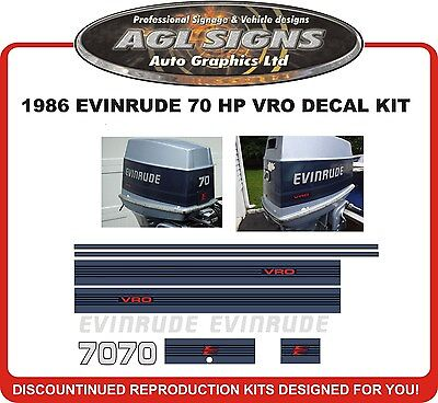 1986 EVINRUDE 70 HP VRO DECAL KIT  Reproductions  60 75 hp also