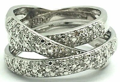Sterling Silver Diamond Cluster Triple Crossover Overlap Wide Band Cocktail Ring