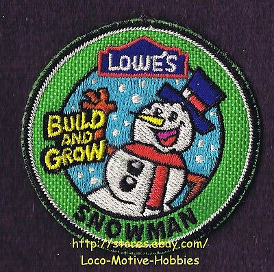LMH Patch (10) SNOWMAN  Winter Snow Man Build Grow LOWES Kids Workshop green LOT