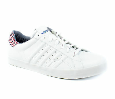 K-Swiss Classic Belmont Plaid White Casual Sneaker Shoes Mens M New $65