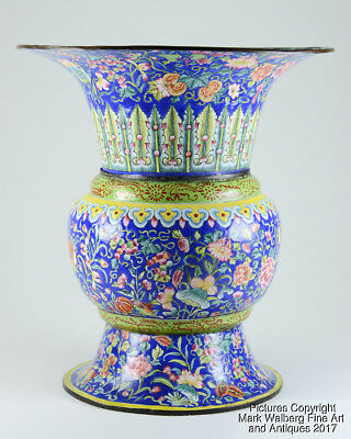 Chinese Canton Enamel Gu Vase, Various Flowers & Fruit, Late 18th / 19th Century
