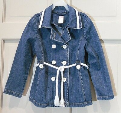 Girls GYMBOREE Blue Denim Jacket Size 8 Nautical Rope Belt Stretch Cotton