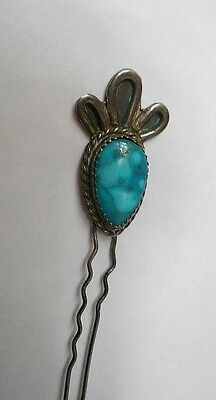 Antique Navajo Zuni Turquoise & Silver HairPin. No Reserve