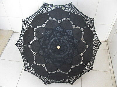 1x Black Battenburg Lace Parasol Umbrella Wedding Favor