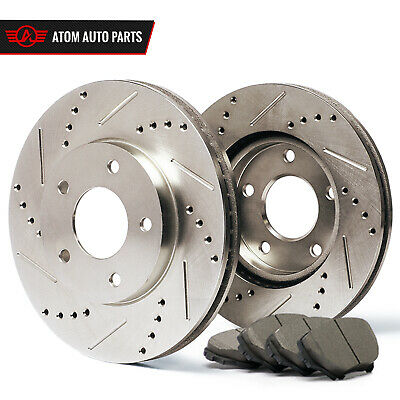 2011 2012 BMW X6 xDrive 50i Slotted Drilled Rotor & Ceramic Pads Front