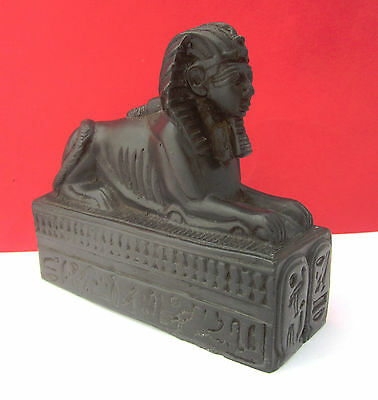 Beautiful Egyptian Sphinx Hand Carved Natural Black Basalt Stone Signed