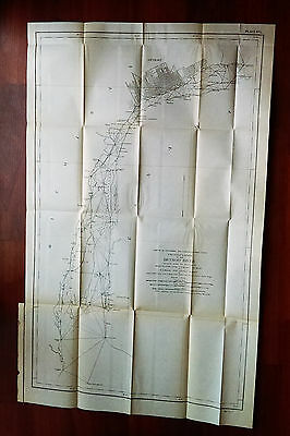 1901 Triangulation Map of Detroit River MI Maj Fisk Grosse Isle Fighting Island