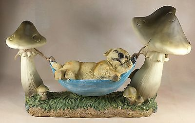 """Dog In Hammock Figurine Yellow Lab 15"""" Long With Solar Light Resin New In Box!"""