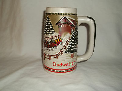 Budweiser Holiday Stein Covered Bridge Collectable Beer Mug.