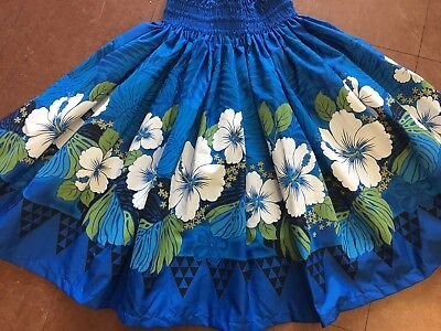 "New Blue Hibiscus Hawaiian Pau Pa'u Hula Skirt   28"" Long Made In Hawaii"