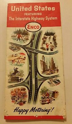 1964 Enco,Humble Oil,Interstate Highway Map,United States