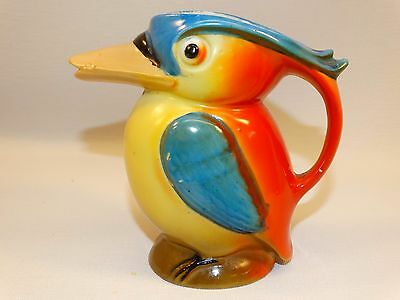 Vintage 1930's Germany Duck Parrot Bird Creamer Hand Painted Orange Blue Yellow