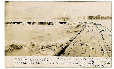 Sodus Point NY - VIEW OF DOCK DURING STORM - RPPC Postcard