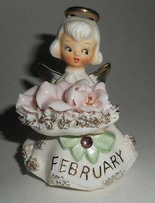 Vintage 1950's Lefton FEBRUARY Angel spaghetti trim Figurine w/flowers