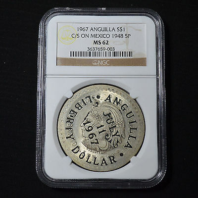 1967 Anguilla Liberty Dollar Counterstamped On 1948 Mexico 5 Peso Km-X2 Ngc Ms62