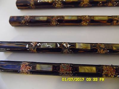 Set of 2 Vintage Chopsticks Abalone Inlay with original case Very Detailed VGC