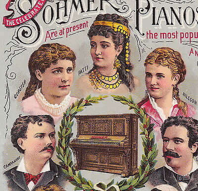 Sohmer Piano NY old 19th Century Celebrity Opera Artists Advertising Trade Card