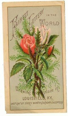 Fairest Lottery in the World Antique Victorian Trade Card Louisville KY Kentucky