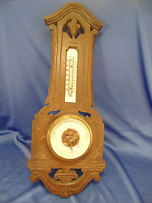 Antique Veranderlyk wood barometer thermometer black forest Germany art weather