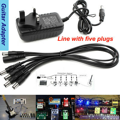 Guitar Effect Pedal Power Supply Adapter 9V & 5 WAY DAISY CHAIN FOR BOSS PSA-240
